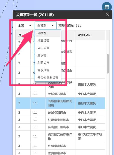 災害年表マップでフィルター検索